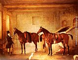 John Ferneley Snr Sir John Thorold's Bay Hunters With Their Groom In A Stable painting