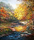 Landscape paintings - Beautiful trees with a quiet river by John Ottis Adams