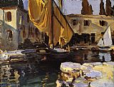 Venice paintings - Boat with The Golden Sail San Vigilio by John Singer Sargent