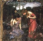 John William Waterhouse Nymphs Finding the Head of Orpheus painting