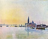 Venice paintings - Venice San Guirgio from the Dogana Sunrise by Joseph Mallord William Turner