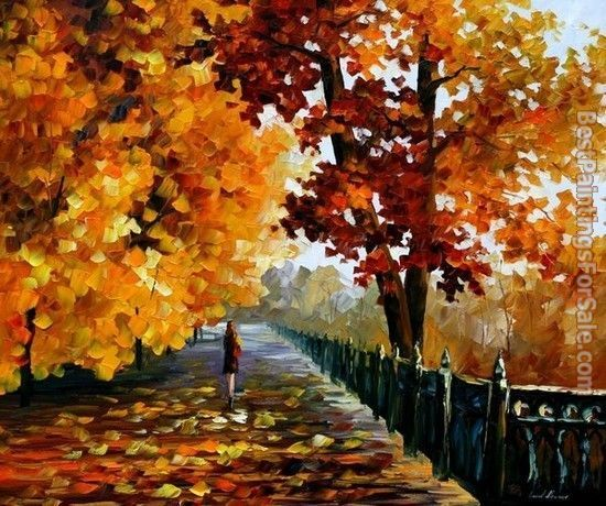 Leonid Afremov Blues of Falling Leaves