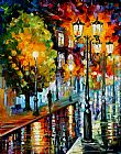 Leonid Afremov AFTER A NIGHT RAIN painting