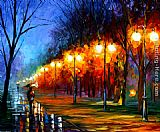 Leonid Afremov FALL,RAIN, ALLEY painting
