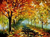 Leonid Afremov LIGHT IN THE FOG painting