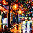 Leonid Afremov NIGHT CAFE painting