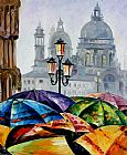 Leonid Afremov RAINY DAY IN VENICE painting