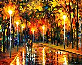 Leonid Afremov STROLL AFTER THE RAIN painting