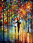 Leonid Afremov UNDER THE RED UMBRELLA painting