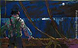 Leroy Neiman Ahab at the Night Watch Moby Dick Suite painting