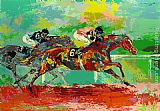 Horse Racing paintings - Race of the Year (Affirmed and Spectacular Bid) by Leroy Neiman