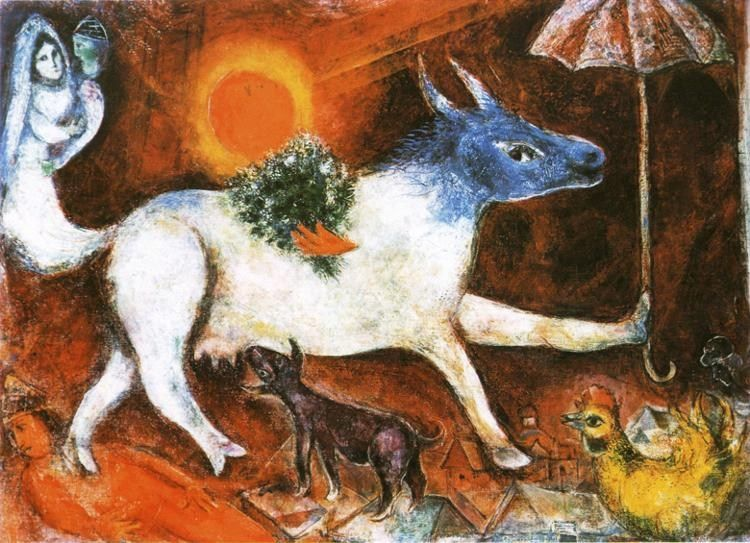 Marc Chagall Cow with Parasol
