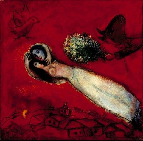 Marc Chagall lovers in the red sky
