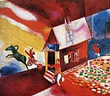Marc Chagall Burning House painting