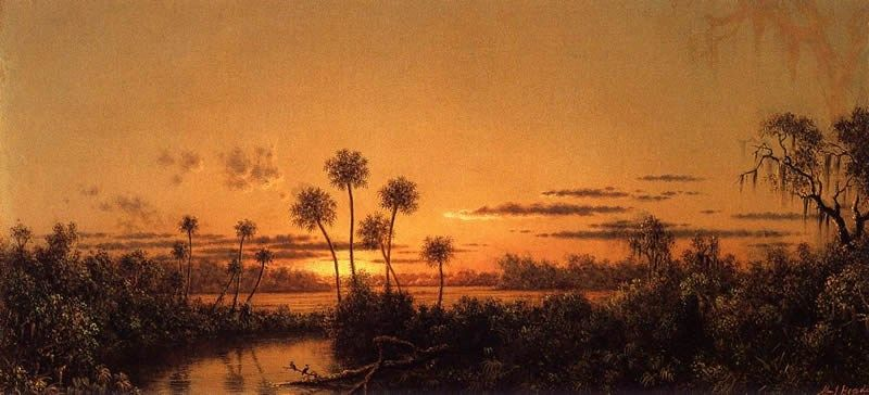 Martin Johnson Heade Florida River Scene, Early Evening, After Sunset