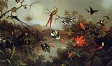 Martin Johnson Heade Tropical Landscape with Ten Hummingbirds painting