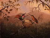 Martin Johnson Heade Two Hummingbirds at a Nest painting