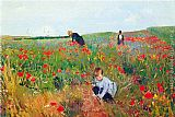 Landscape paintings - Poppies by Mary Cassatt