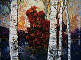 Maya Eventov Birch Sunset painting