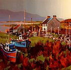Michael O'Toole Boats in Field, Achill Island painting