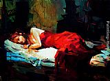 lady agnew Canvas Prints - Sleeping Lady in Red