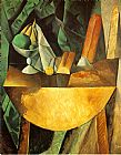 pablo picasso Paintings - Bread and Fruit Dish on a Table