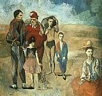 pablo picasso Paintings - Family at Saltimbanquesc