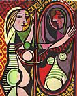 pablo picasso Paintings - Girl Before a Mirror