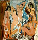 pablo picasso Paintings - Les Demoiselles dAvignon