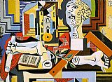 pablo picasso Paintings - Studio with Plaster Head