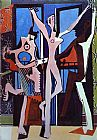 pablo picasso Paintings - Three Dancers