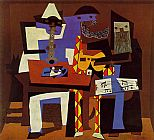 pablo picasso Paintings - Three Musicians