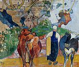 Paul Gauguin Peasant Woman and Cows in a Landscape painting