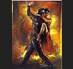 Dancer paintings - Tango Argentino by Pedro Alvarez