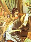 Piano paintings - Girls at the Piano I by Pierre Auguste Renoir