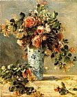 Pierre Auguste Renoir Roses And Jasmine In A Delft Vase painting