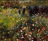 Floral paintings - Summer Landscape Aka Woman With A Parasol In A Garden by Pierre Auguste Renoir