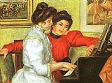 Piano paintings - Yvonne and Christine Lerolle Playing the Piano by Pierre Auguste Renoir