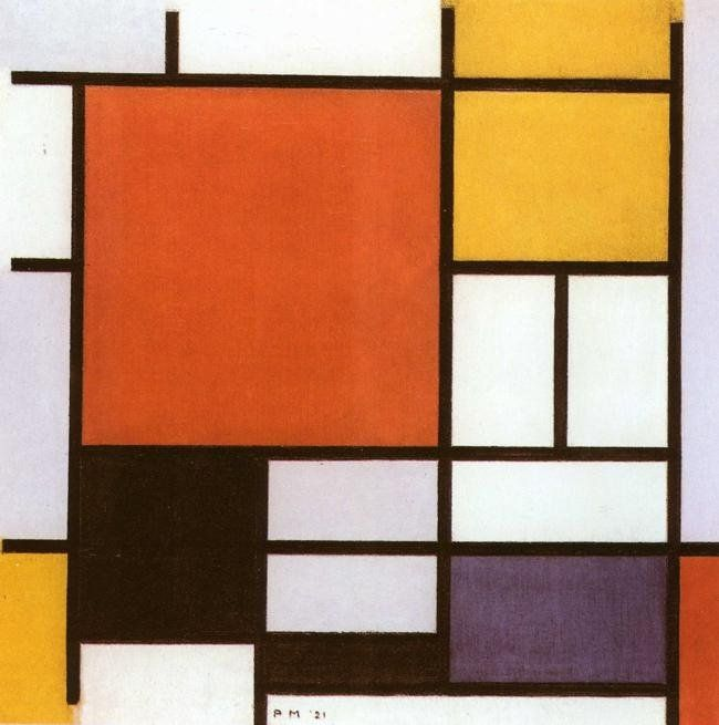 Piet Mondrian Composition with Red Yellow
