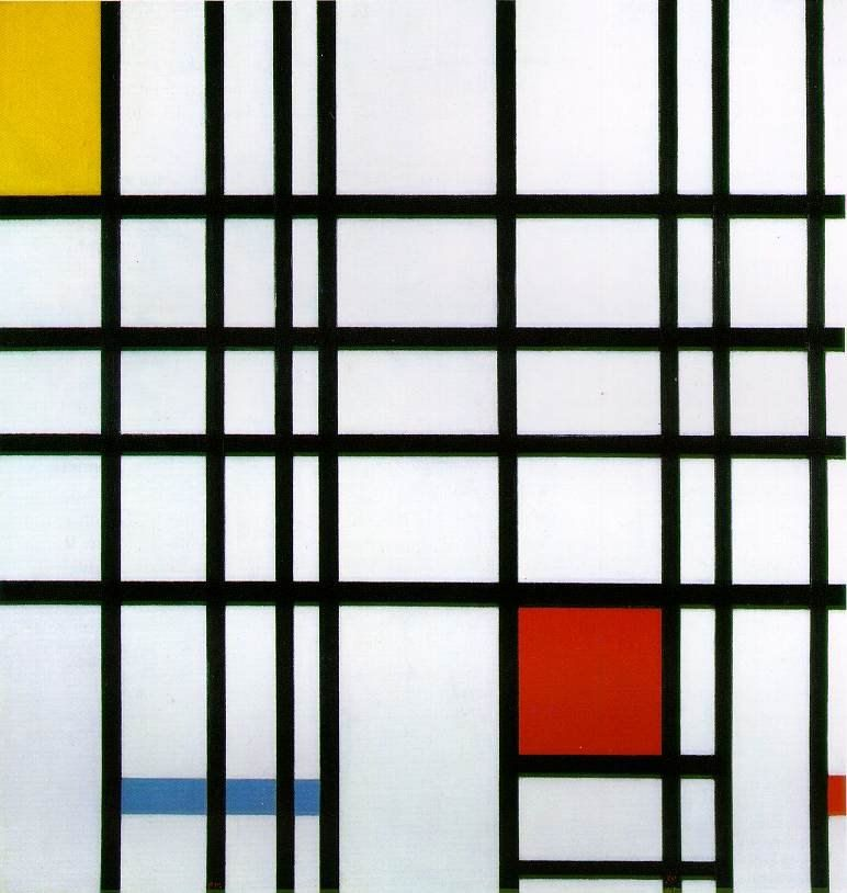 Piet Mondrian Composition with Yellow Blue and Red