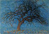 Piet Mondrian Avond Evening Red Tree painting