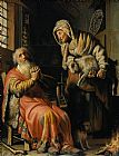 Rembrandt Tobit and Anna with a Kid painting
