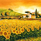 valley of the seine giverny Paintings - Valley of Sunflowers