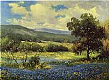 Landscape paintings - Fields of Blue by Robert Wood
