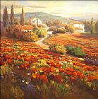 Roberto Lombardi Red Poppy Hill painting