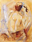 Talantbek Chekirov Kiss in Paris painting