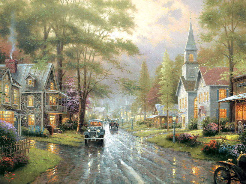 Thomas Kinkade HOMETOWN EVENING