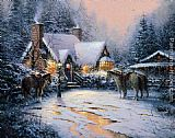 Thomas Kinkade A Christmas Welcome painting