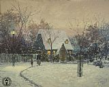Thomas Kinkade A Winter's Cottage painting