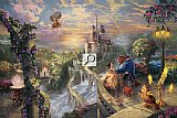Thomas Kinkade Beauty and the Beast Falling in Love painting